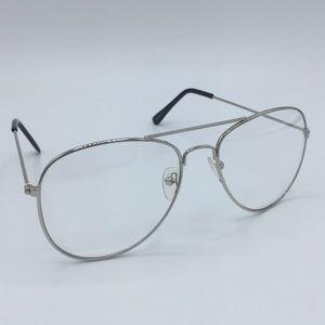 Accessories - Silver tone clear glass aviators